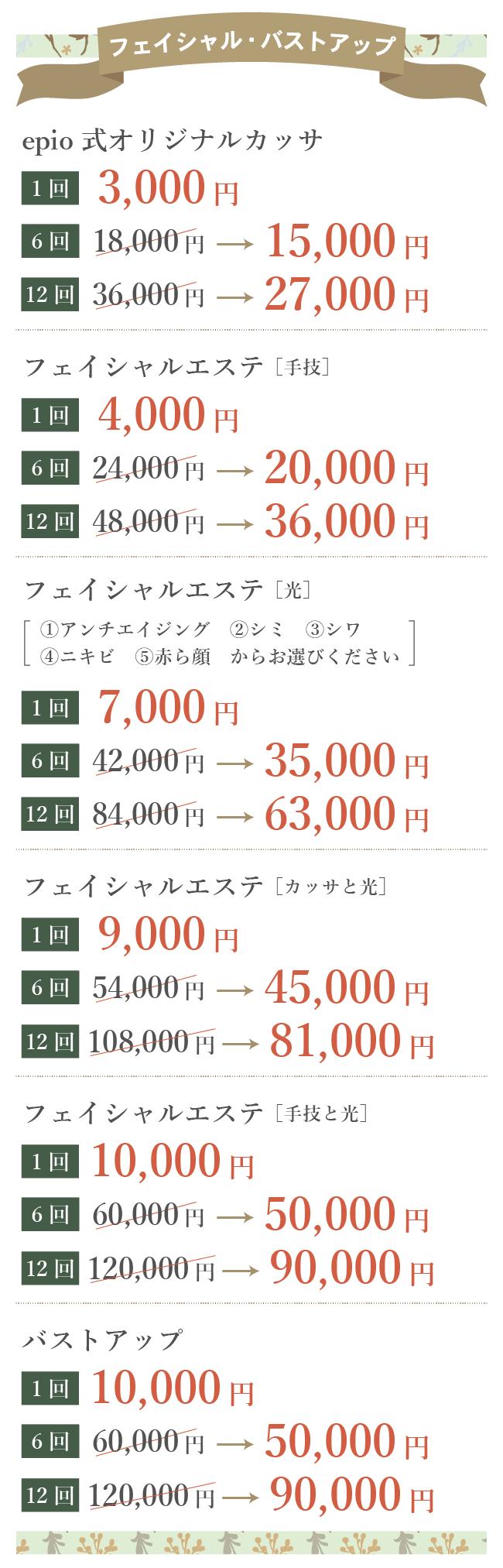 エステの料金表